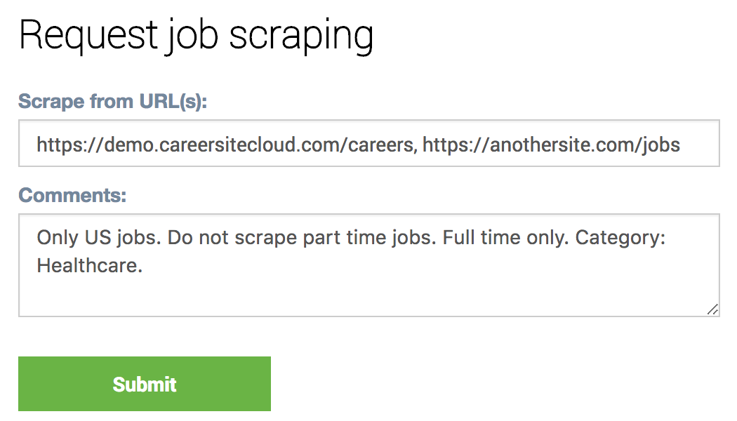 API to refresh jobs & add scrapes from client system
